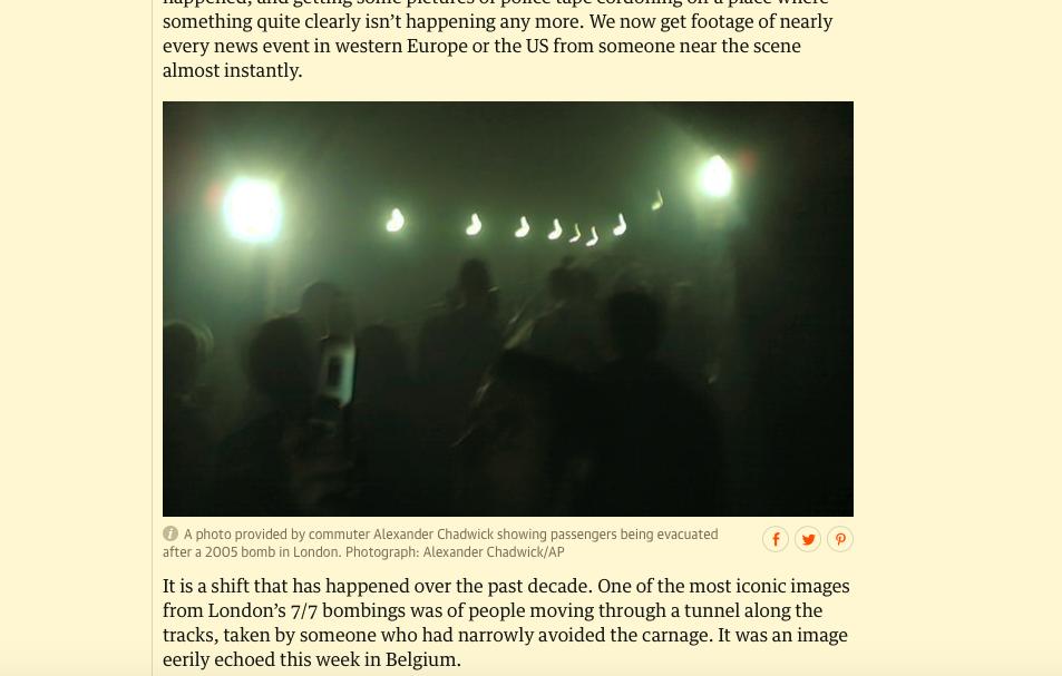 2005 թվականին Լոնդոնի մետրոյում տեղի ունեցած ահաբեկչության պահին ուղևորների կողմից արված լուսանկար: